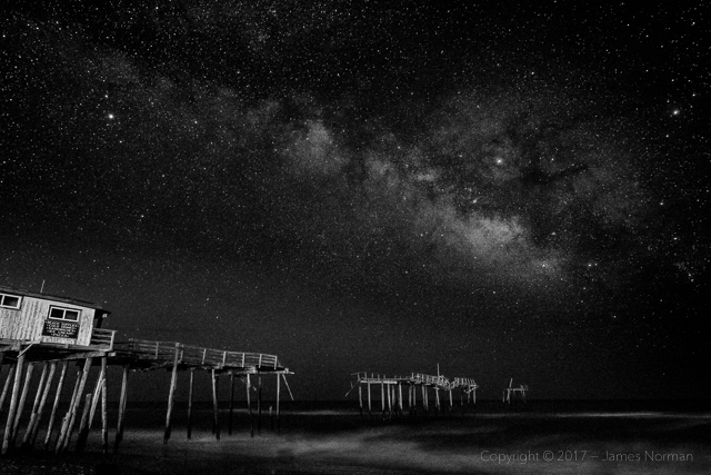 The Milky Way Rising Over the Remains of Frisco Pier, Cape Hatteras, NC.
